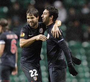 Arda y Diego celebran el gol atlético  Foto: Getty Images UEFA Europa League